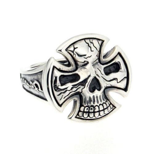 Golgotha Ring Skull Cross Sterling Rose Gold Yellow Gold