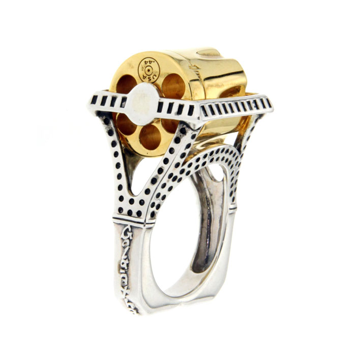 Golgotha Ring Revolver Sterling Silver Rose Gold Yellow Gold