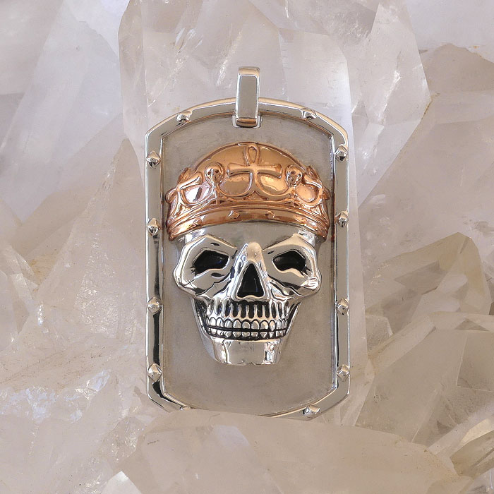 Golgotha Tag Skull King Sterling Rose Gold Yellow Gold